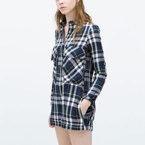 Zara Trafaluc Size Small Blue Plaid Romper